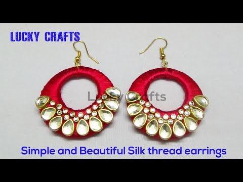 Simple and Beautiful Silk thread earrings / Latest Chandbali Silk Thread Earrings