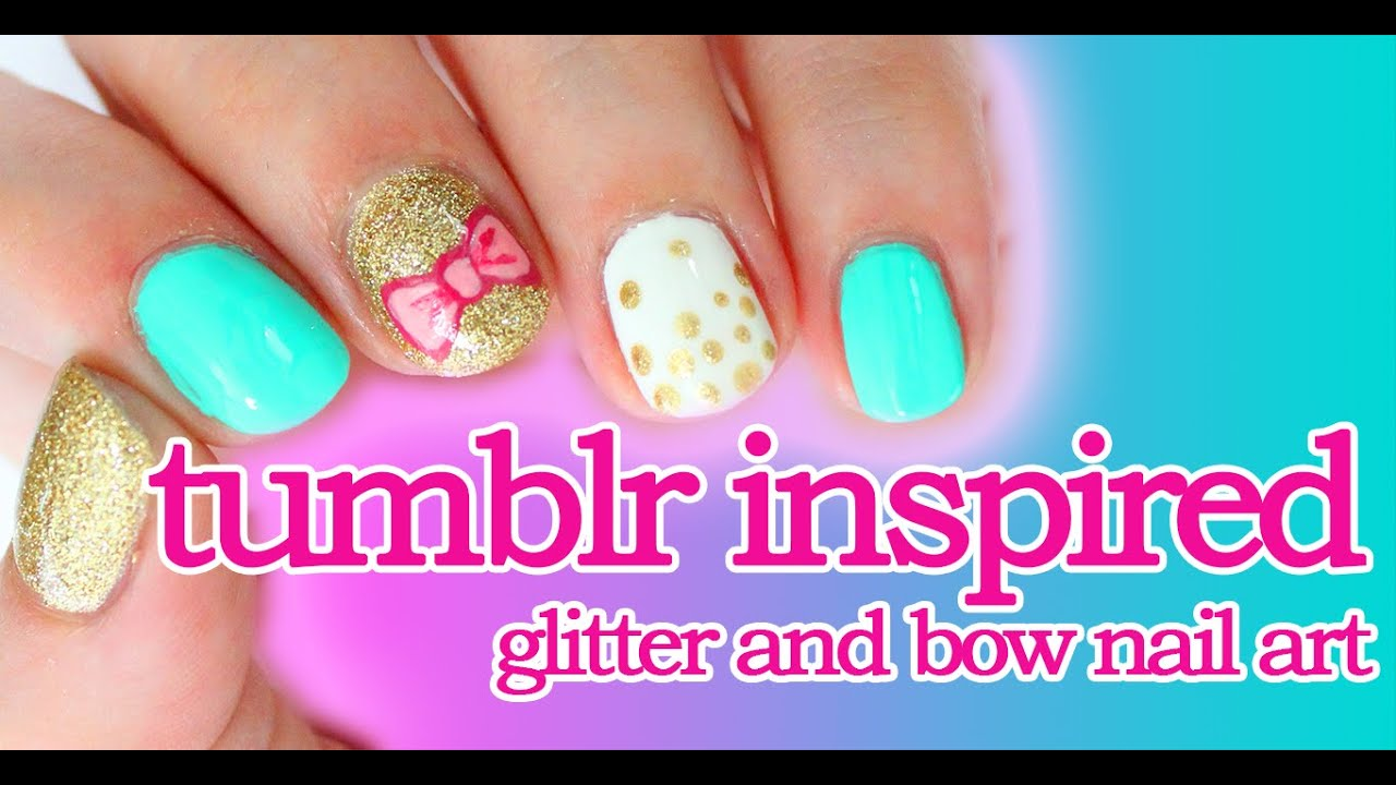 Tumblr Inspired Bow And Glitter Nail Art Youtube