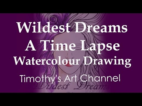 Traditional Time Lapse painting: Wildest Dreams – ASMR (no whispering, soft music only)