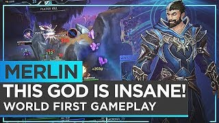 Merlin: WORLD FIRST GAMEPLAY! THE GOD IS INSANE! - Smite