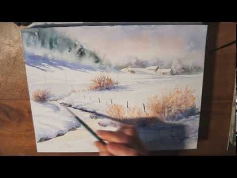 Dmo Aquarelle Paysage Dhiver Watercolor Tutorial