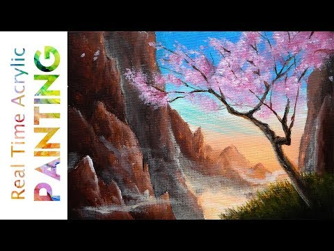 Today we Paint a Sakura Tree Amidst Misty Mountains (Landscape Painting Tutorial)