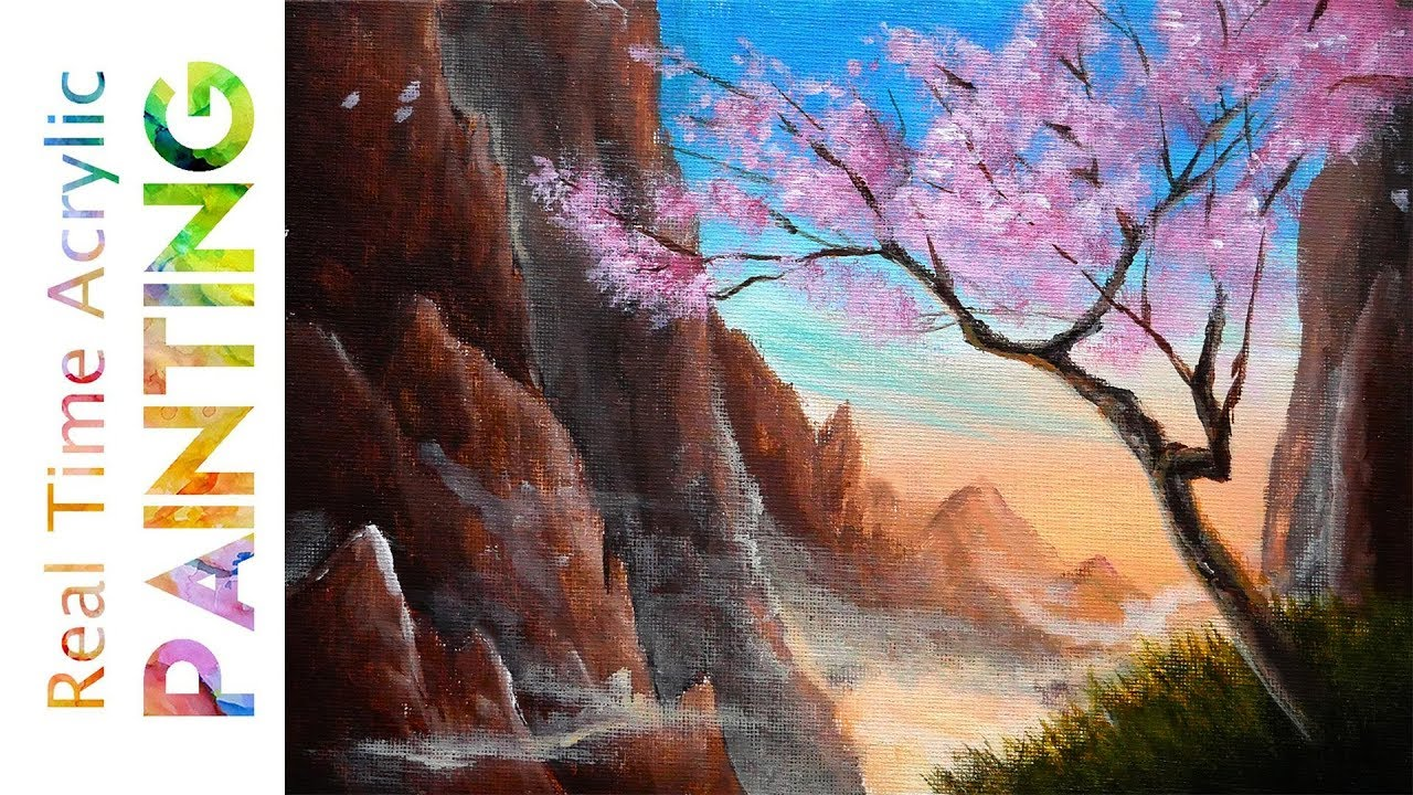 1496731c1 Today we Paint a Sakura Tree Amidst Misty Mountains (Landscape Painting  Tutorial)