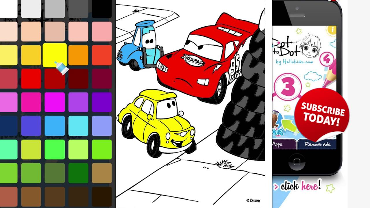 Coloring Book Cars Lightning McQueen And Guido Tires Changing During The Race Page