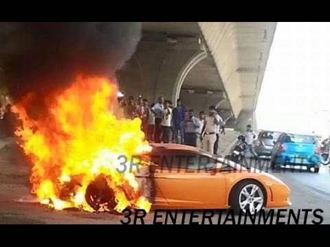 Lamborghini In Delhi Catches Fire Burn Video Live Youtube