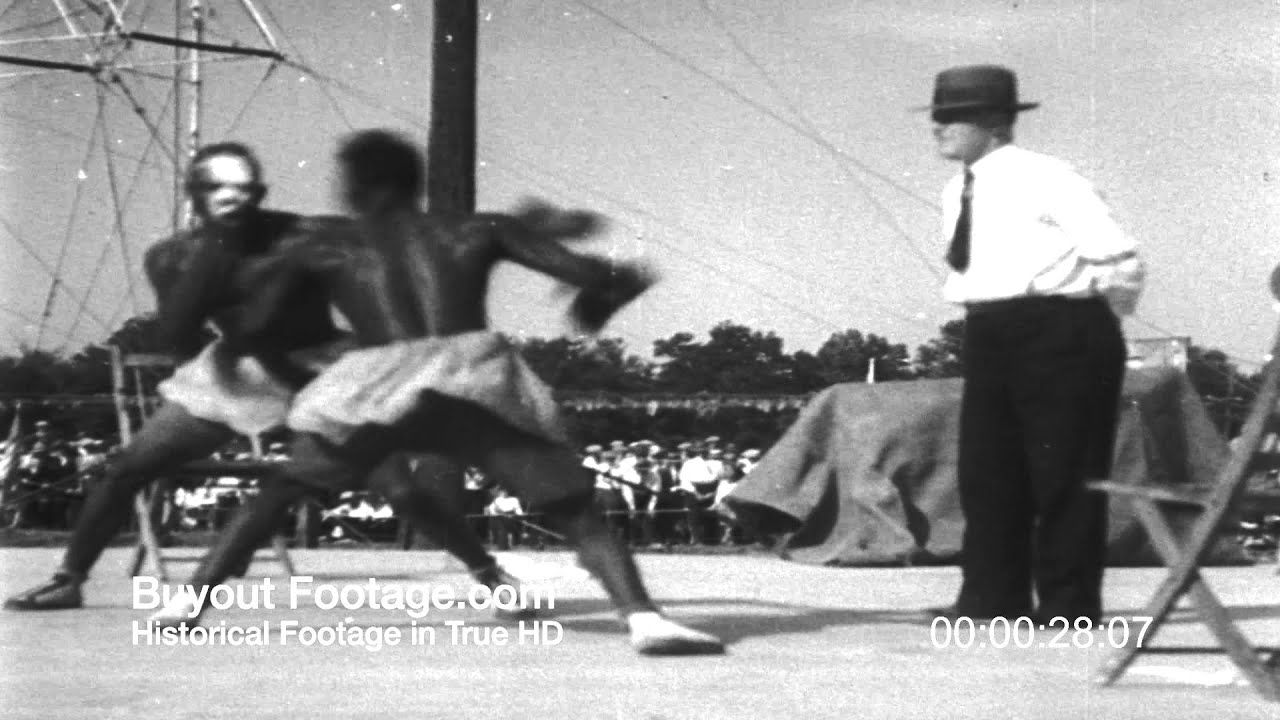 HD Stock Footage Comedy Boxing Slapping Contest 1930's Newsreel