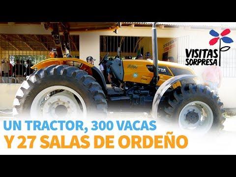 Un tractor, 300 vacas y 27 salas de ordeño