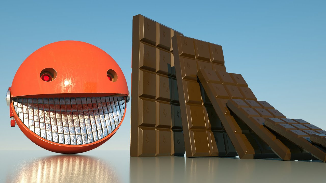 Giant Chocolate Dominoes VS Red Robot Pacman