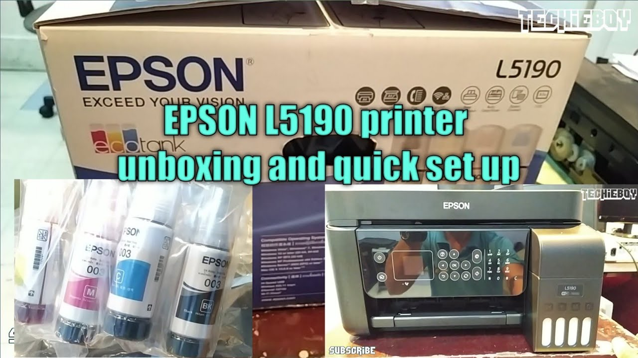 Epson L5190 printer unboxing and quick set up
