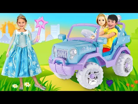 Sasha go to Frozen Elsa party and playing with Princess Toys