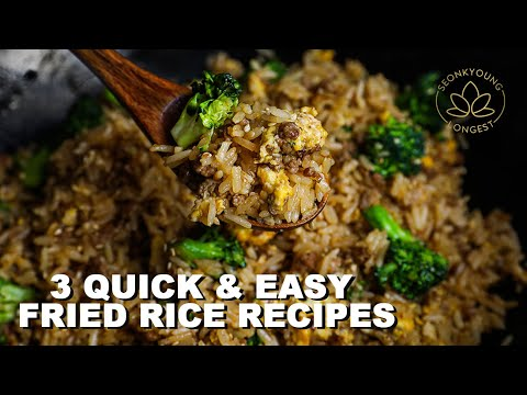 3 QUICK Fried Rice with Ground Meat | Beef and Broccoli, Lemongrass Chicken & Pork Adobo Fried Rice!