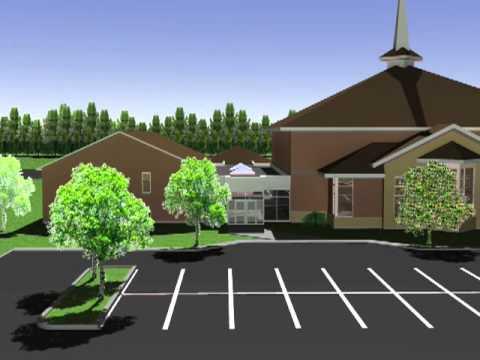 Pentecostal church exterior design fly through vw for Church exterior design