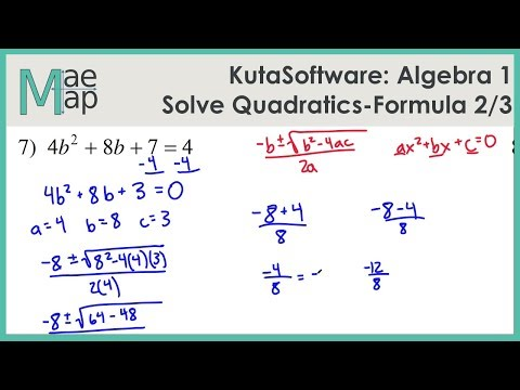 KutaSoftware Algebra 1 Using Quadratic Formula Part 2