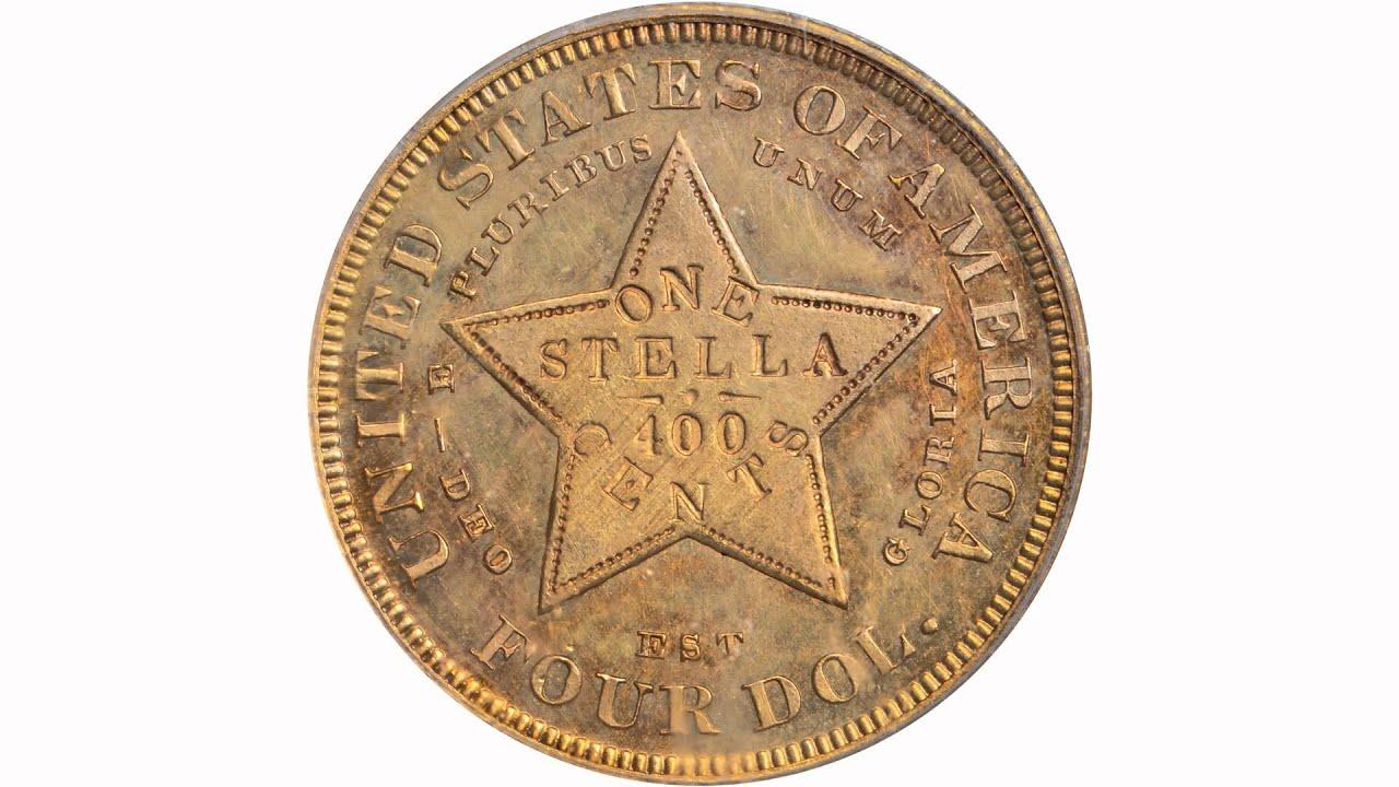1879 Four Dollar Gold Stella Flowing Hair Judd 1635