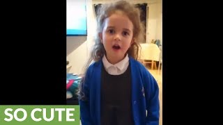 6-year-old girl raps along to 'Man's Not Hot'