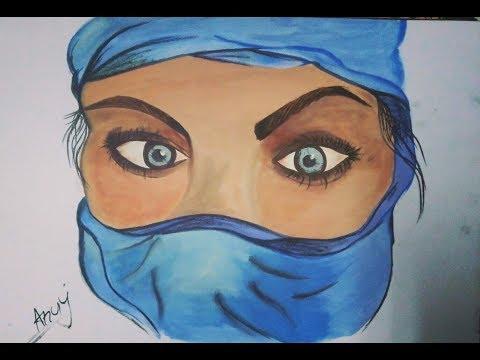 Half face portrait painting acrylic colour... music background Parda Hai Parda