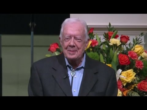 President Jimmy Carter says he's 'at ease' with death during church ...