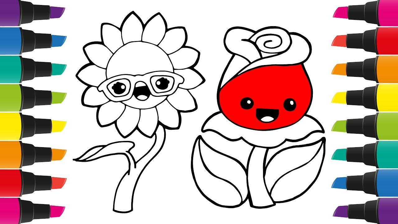 Coloring Book Colorful Flower | How to Draw Plants | Art Colours for ...