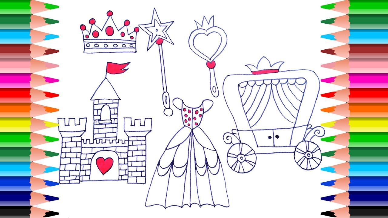 Coloring book princess crowns - How To Draw A Princess Set For Girls Coloring Pages Dress Crown Mirror Art Colors For Kids