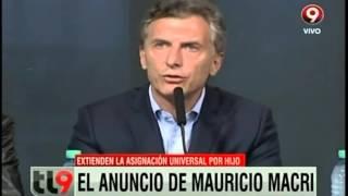 Macri extiende la Asignación Universal por Hijo