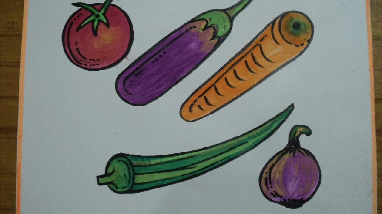 How To Easy Draw Vegetable Drawing Tutorial For Kids