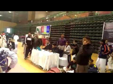 Taekwondo grand prix in Delhi (India) 2018 paritosh in blue chest guard