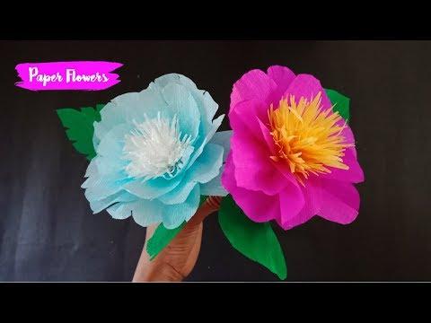 Kerajinan Tangan Membuat Bunga Dari Kertas Krep Youtube
