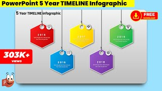 6.Create 5 Year HEXAGONAL TIMELINE infographic/PowerPoint Presentation/Graphic Design/Free Template