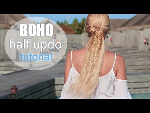 cute-summer-hairstyle-for-medium/long-hair-✿-boho-chic-half-up-half-down-ponytail