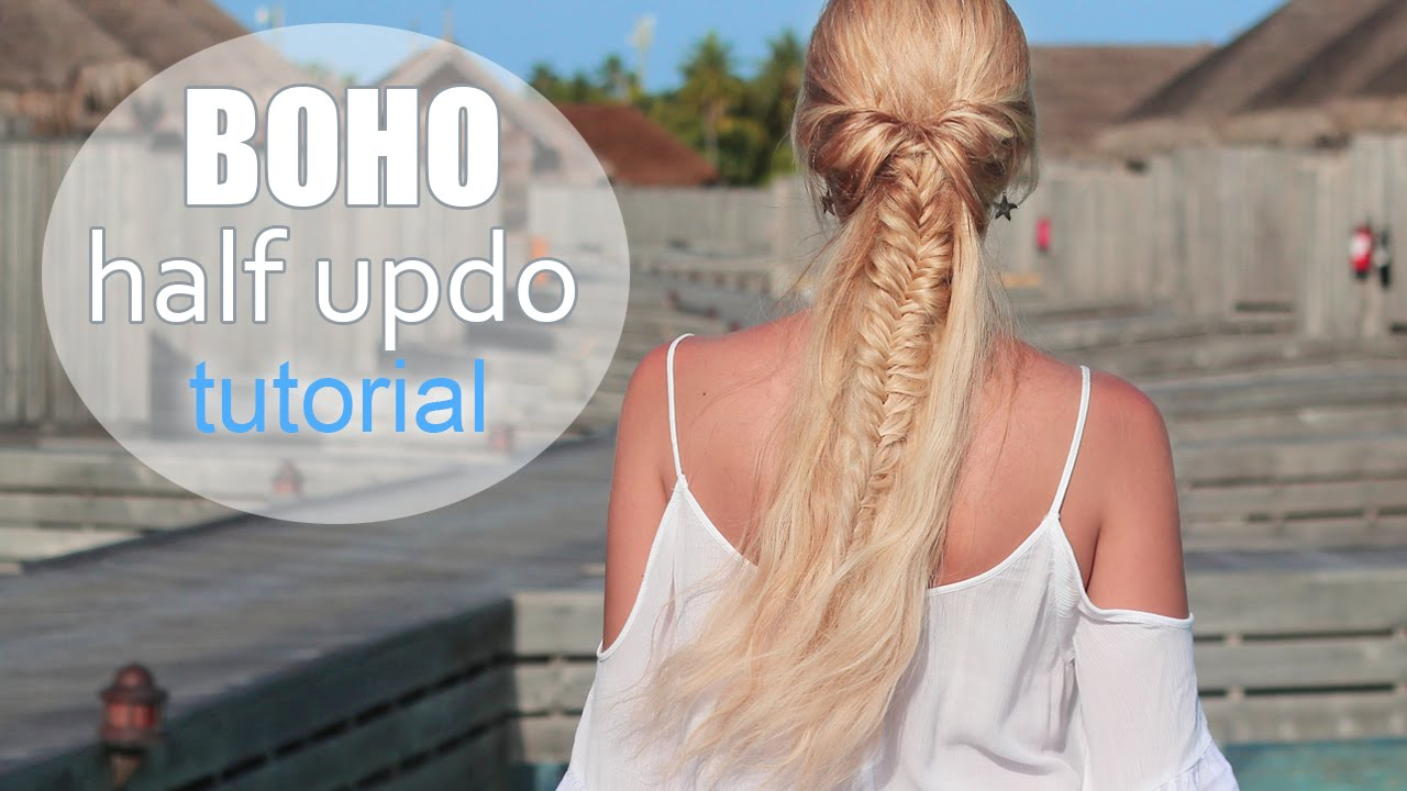 Cute Summer Hairstyle For Medium Long Hair Boho Chic Half Up Down Ponytail