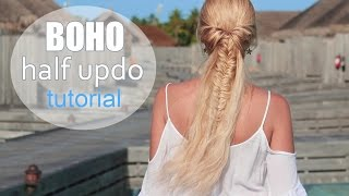 Cute summer hairstyle for medium/long hair ✿ Boho chic half up half down ponytail