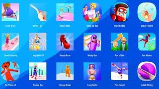 Twerk It Gal,Sticky Flip,Bridal Rush,Dress Up Run,Superhero League,Super Powers,android,ios,gameplay