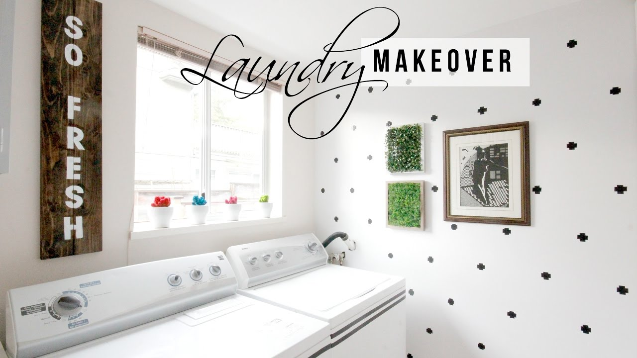 LAUNDRY ROOM MAKEOVER- EASY HOME DECOR IDEAS - YouTube