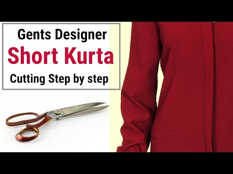 Short Kurta For Men - Cutting And Stitching || Designer Neck Short Kurta. How To Cut Mens Kurta