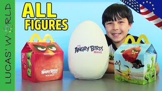ALL American & European McDonalds Happy Meal ANGRY BIRDS MOVIE Toys! GIANT PLAY DOH Surprise Eggs!