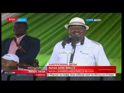 Raila Odinga's supporters refuse to take shade as heavy rains pound his rally in Kisii County