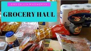 $200 AUSTRALIAN GROCERY HAUL | COLES & WOOLWORTHS | OVER BUDGET!!!