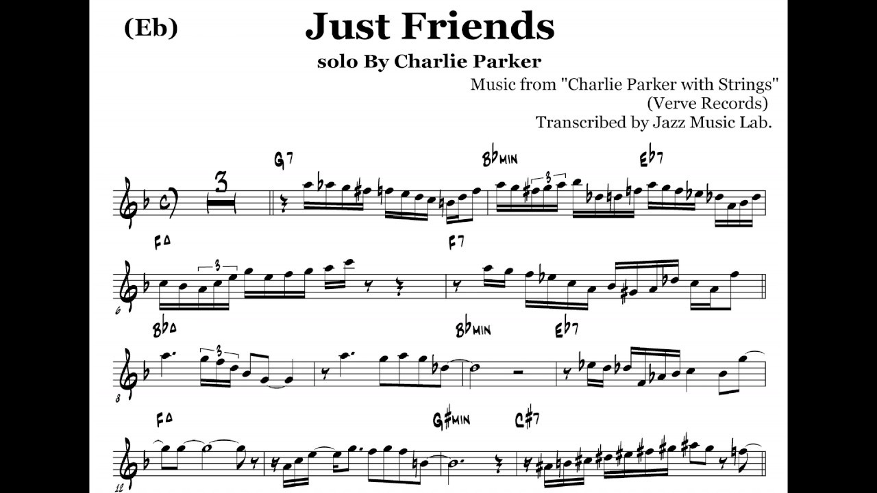 (Eb) Transcription of Charlie Parker's Solo on Just Friends,