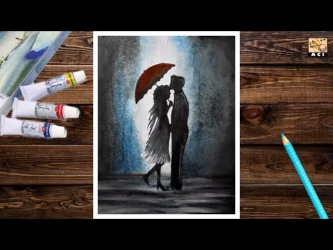 Watercolor Couple Under Umbrella Speed painting.