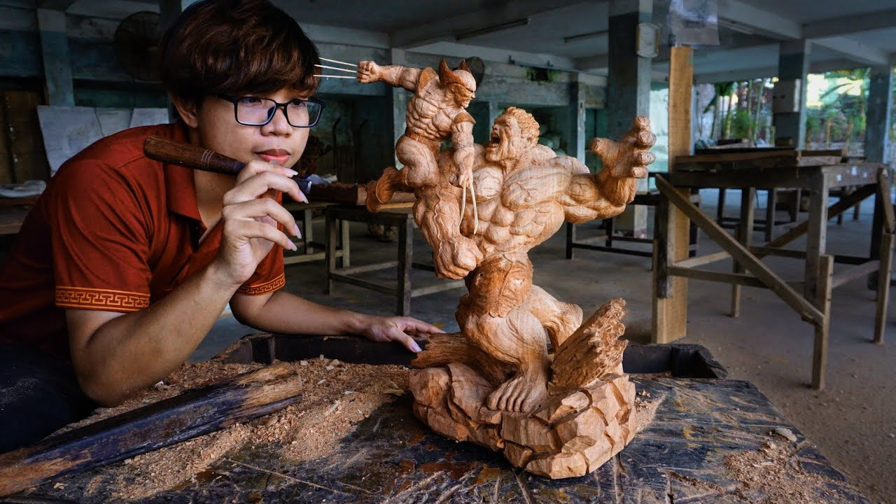 Hulk vs Wolverine Fighting Wooden Diorama -Carving from a Piece of Wood
