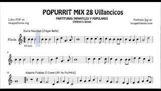 28 Popurrí Mix Villancicos Partituras de Flauta Dulce Navidad Adeste Fideles Los Campanilleros