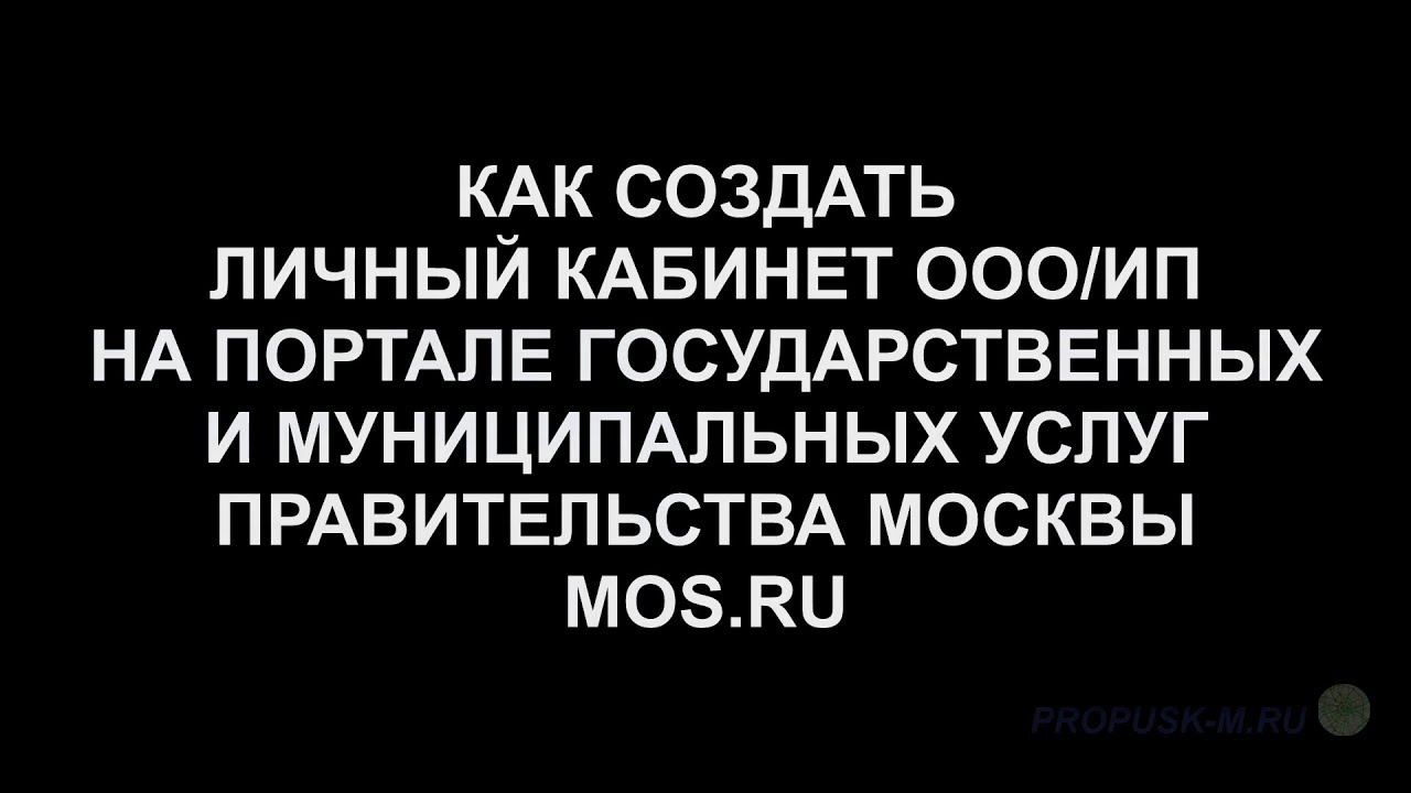 Как создать личный кабинет ООО/ИП на mos.ru. Регистрация ...