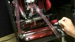 How To Tutorial Filling Water Cooling Loop With Mayhem Red Dye In EK 250 Multi Option Res Reservoir