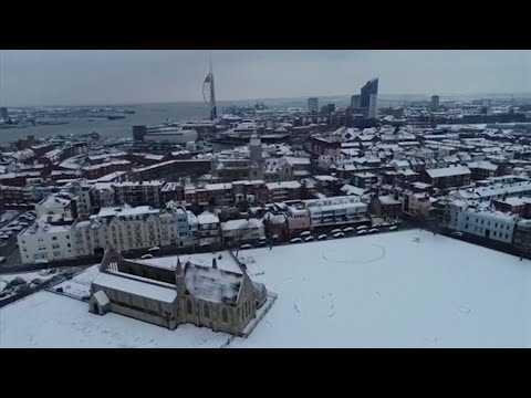 Drone footage shows snow-covered Portsmouth as 'mini beast from the east' hits