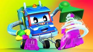 Video truk untuk anak-anak - TRUK SAMPAH melawan JELI dan DORAEMON - Truk Super di Kota Mobil!