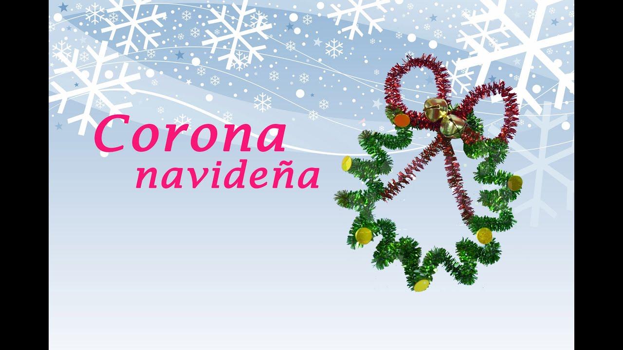 Corona navide a con limpiapipas manualidades navidad - Coronas navidenas faciles ...