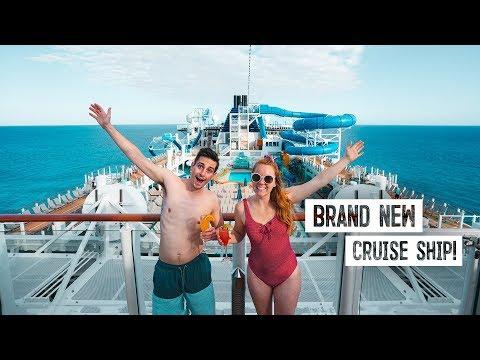 Boarding A BRAND NEW Cruise Ship! - Norwegian Encore Food & Ship Tour + Private Caribbean Island