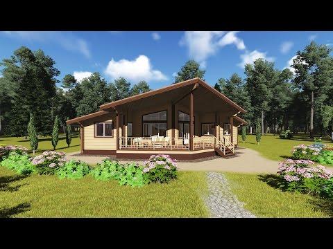 """Проект финского одноэтажного дома """"Афина"""" из клееного бруса с тремя спальнями"""