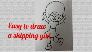 Easy to draw a skipping girl- simply draw for kids