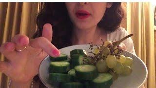 ASMR Eating Persian Sour Plum (Gojeh Sabz) with Grapes and cucumbers!
